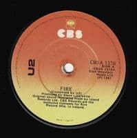 U2 Fire Vinyl Record 7 Inch Irish CBS 1981